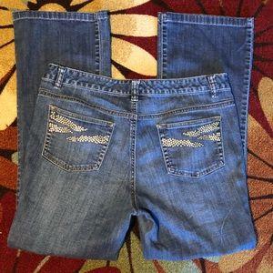 Michael Kors boot cut jeans w/studded pockets